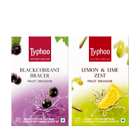 Typhoo Blackcurrant Bracer & Lemon & Lime Zest Fruit Infusions pack (25 ...