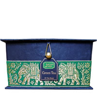 Bagan Green Tea Gift Box - Black Paper, Green Elephant Zari Lace (25 tea bags)