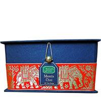 Bagan Masala Chai Tea Gift Box - Black Paper, Orange Elephant Zari Lace ...