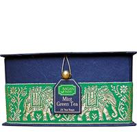 Bagan Mint Green Tea Gift Box - Black Paper, Green Elephant Zari Lace (25 ...