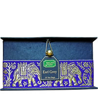 Bagan Earl Grey Tea Gift Box - Black Paper, Purple Elephant Zari Lace (25 ...