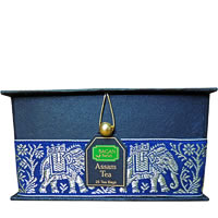 Bagan Assam Tea Gift Box - Black Paper, Navy Blue Elephant Zari Lace (25 ...