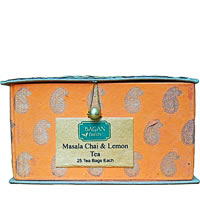 Bagan Masala Chai & Lemon Tea Twin Pack - Orange Gift Box with Bamboo Matt ...
