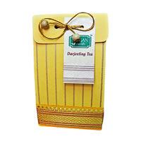 Bagan Darjeeling Tea Gift Pack - Yellow Paper with Zari Lace, 100 gm