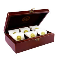 Dancing Leaf 6-Partition Wooden Box - Assorted Tea Gift Chest (36 Pyramid ...