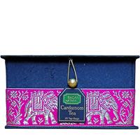 Bagan Cardamom Tea Gift Box - Black Paper, Magenta Elephant Zari Lace (25 ...