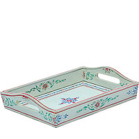 Kaushalam Hand-Painted Wooden Tray, Small - White