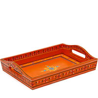 Kaushalam Hand-Painted Wooden Tray, Small - Orange