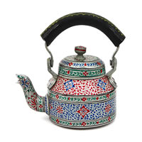 Kaushalam Hand-Painted Tea Kettle, Small - Silver and Black