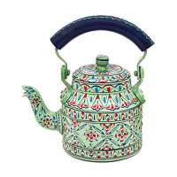 Kaushalam Hand-Painted Tea Kettle, Small - Sea Green and Blue