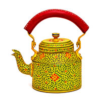 Kaushalam Hand-Painted Tea Kettle, Large - Yellow and Red