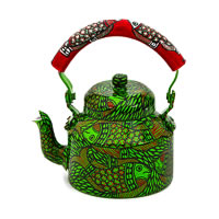 Kaushalam Hand-Painted Tea Kettle, Large - Green and Red