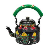 Kaushalam Hand-Painted Tea Kettle, Large - Black and Green