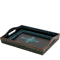 Kaushalam Hand-Painted Wooden Tray, Large - Black