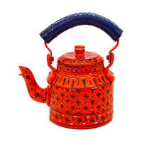 Kaushalam Hand-Painted Tea Kettle, Small - Orange and Blue