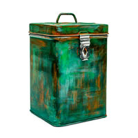 Kaushalam Hand-Painted Cookie Canister - Brush Strokes, Green and Gold