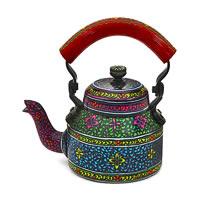 Kaushalam Hand-Painted Tea Kettle, Small - Black and Maroon