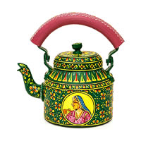 Kaushalam Hand-Painted Tea Kettle, Large - Raja and Rani, Green