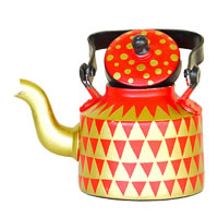ScrapShala Hand-Painted Tea Kettle, Geometric Style - Golden and Red