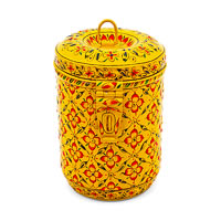 Kaushalam Hand-Painted Cookie Jar - Yellow
