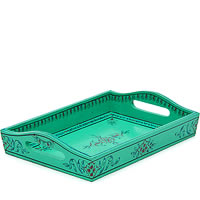 Kaushalam Hand-Painted Wooden Tray, Small - Green