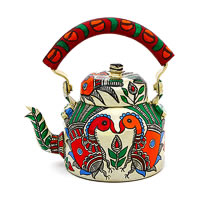 Kaushalam Hand-Painted Tea Kettle, Large - White and Red