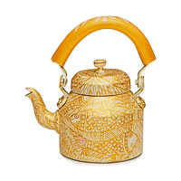 Kaushalam Hand-Painted Tea Kettle, Large - Golden Fish