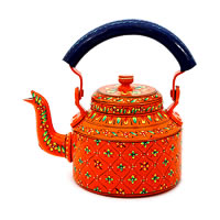 Kaushalam Hand-Painted Tea Kettle, Large - Orange and Blue