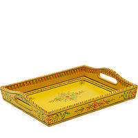 Kaushalam Hand-Painted Wooden Tray, Large - Yellow