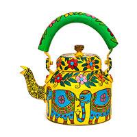 Kaushalam Hand-Painted Tea Kettle, Large - Blue Elephant