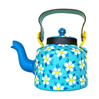 ScrapShala Hand-Painted Tea Kettle, Floral Theme - Blue and Yellow
