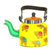 ScrapShala Hand-Painted Tea Kettle, Ethnic Desi Elephant - Yellow and Green
