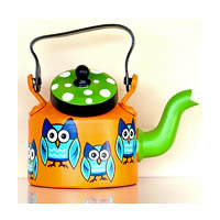 ScrapShala Hand-Painted Tea Kettle, Owl Theme - Orange and Green