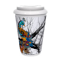 Kolorobia Peacock White Cafe Mug