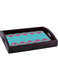ThinNFat Quatrefoil Floral Printed Tray
