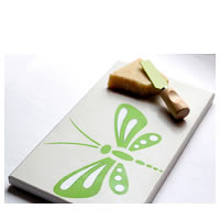 Amalgam Hand-carved Daring Dragonfly Motif Stone Platter - White & Green