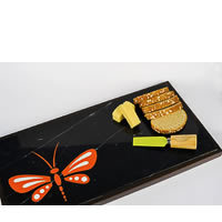 Amalgam Hand-carved Daring Dragonfly Motif Stone Platter - Orange & Black