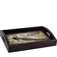 ThinNFat Black Peacock Printed Tray