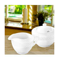 Wilmax ENGLAND Fine Porcelain Julia Sugar Bowl and Creamer Set (White) - 2 pcs