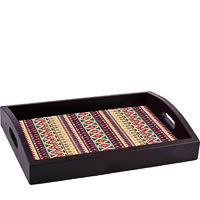 ThinNFat Brown Feather Tribal Printed Tray
