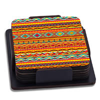 ThinNFat African Art Printed Coasters - set of 6