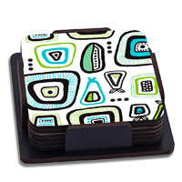 ThinNFat Doodle Design Printed Coasters - set of 6