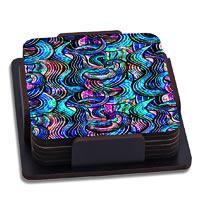 ThinNFat Rainbow Wave Printed Coasters - set of 6