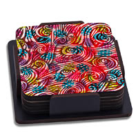 ThinNFat Colourful Egg Printed Coasters - set of 6