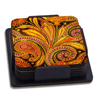 ThinNFat Paisley Art Printed Coasters - set of 6