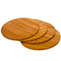 ARMS Neem Wood Round Plain Coasters - set of 4