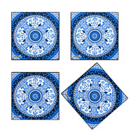 Kolorobia Turkish Blue Wooden Coasters - set of 4