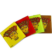 Kolorobia Traditional Madhubani Glass Coasters - set of 4