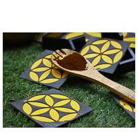 Amalgam Circling Coterie Coasters (Yellow) - set of 4