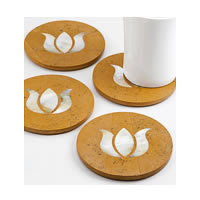 Amalgam Hand-carved Pure and Precious Lotus Motif Stone Round Coasters - ...